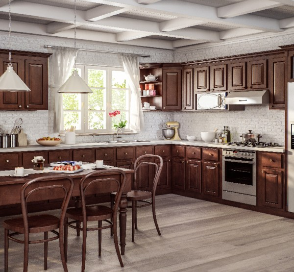 elegant brown wood custom kitchen with table and chairs