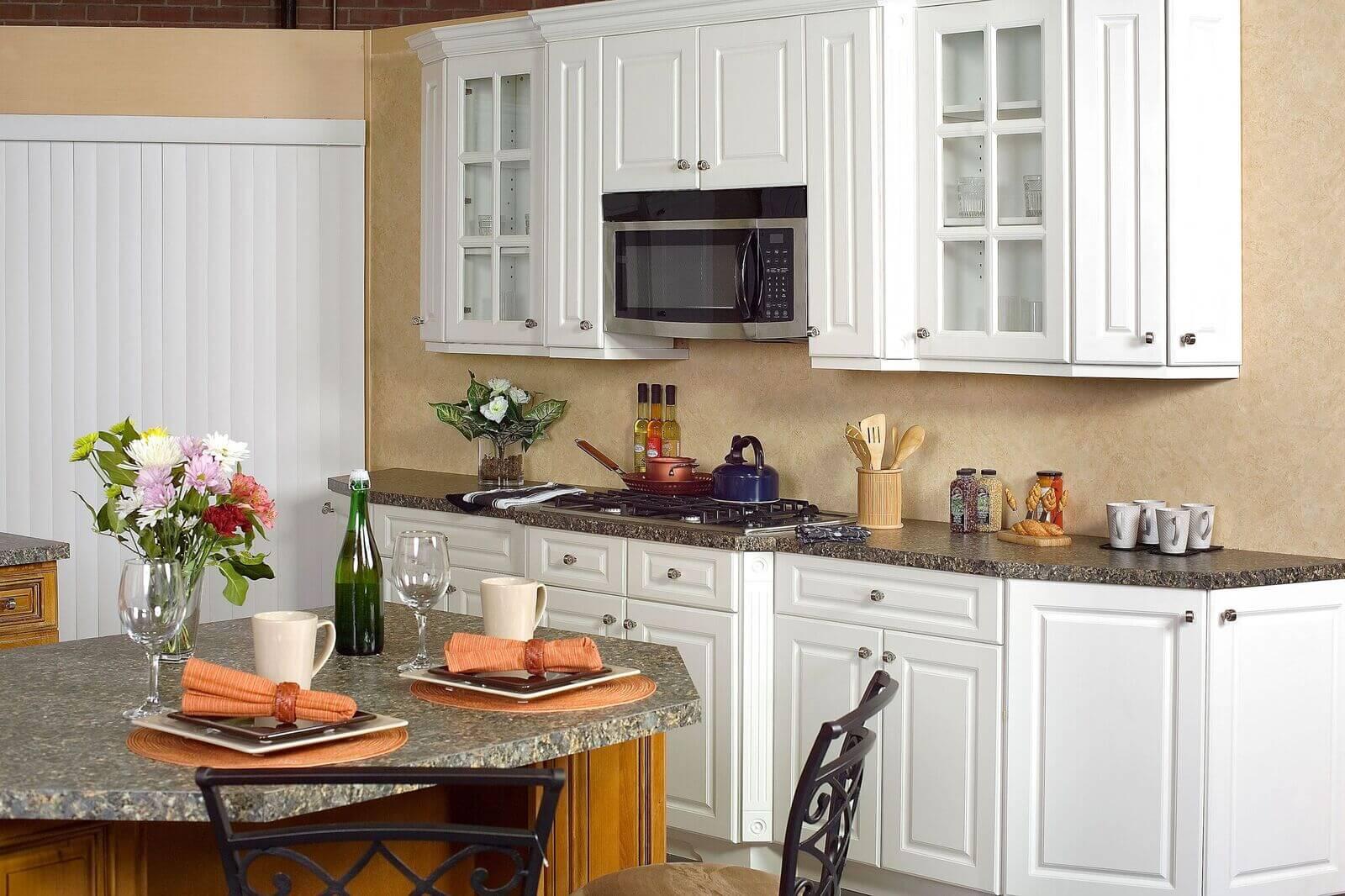 cascade white glass door kitchen cabinets
