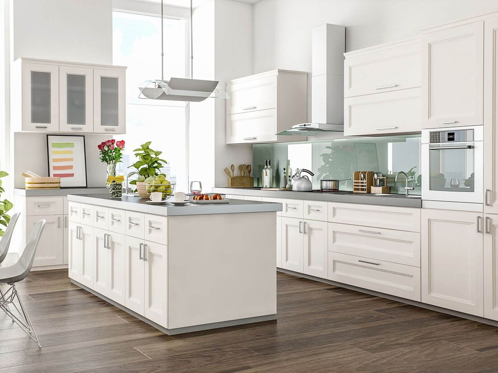 chic modern white kitchen cabinets