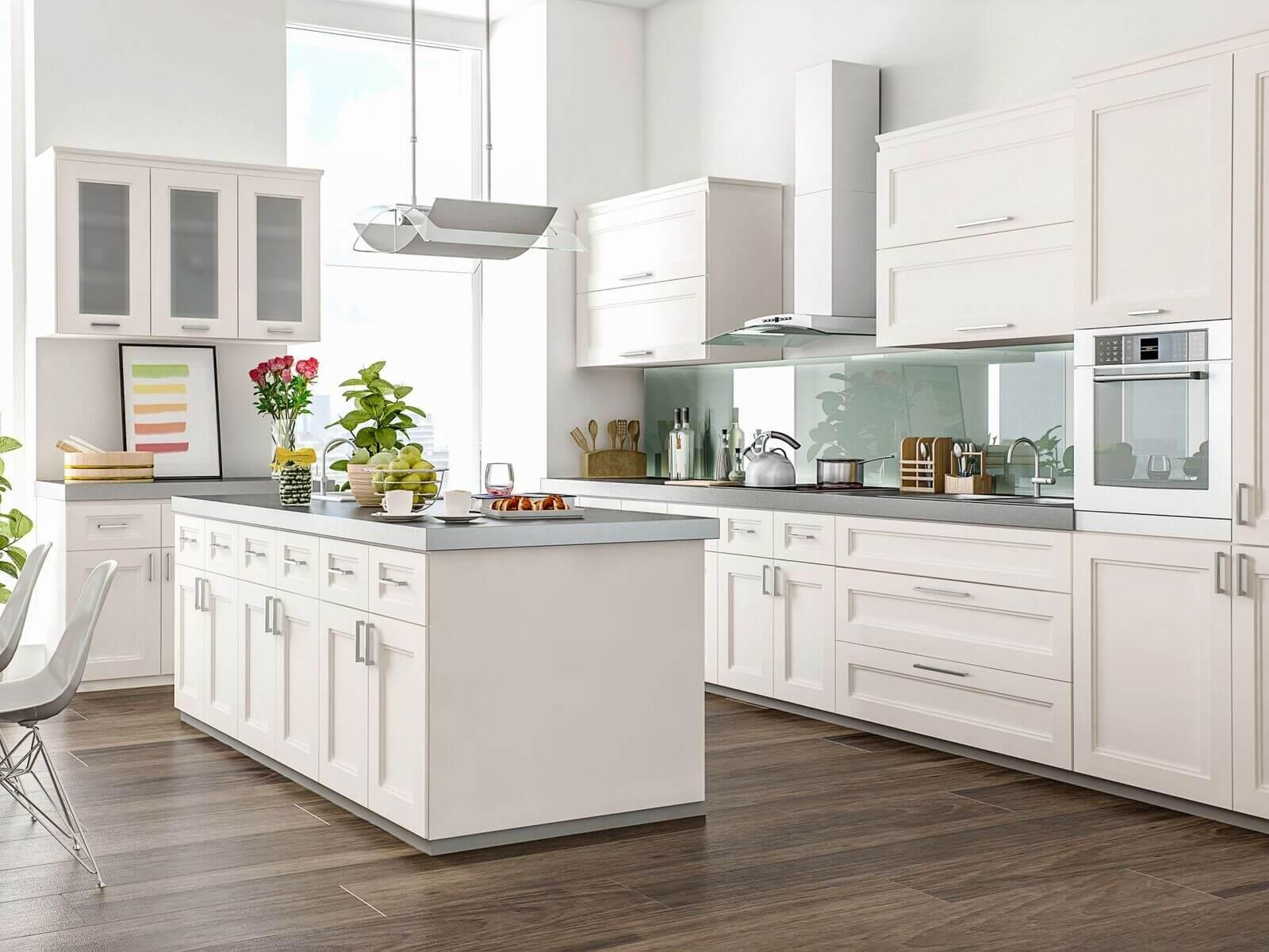 chic modern white kitchen cabinets