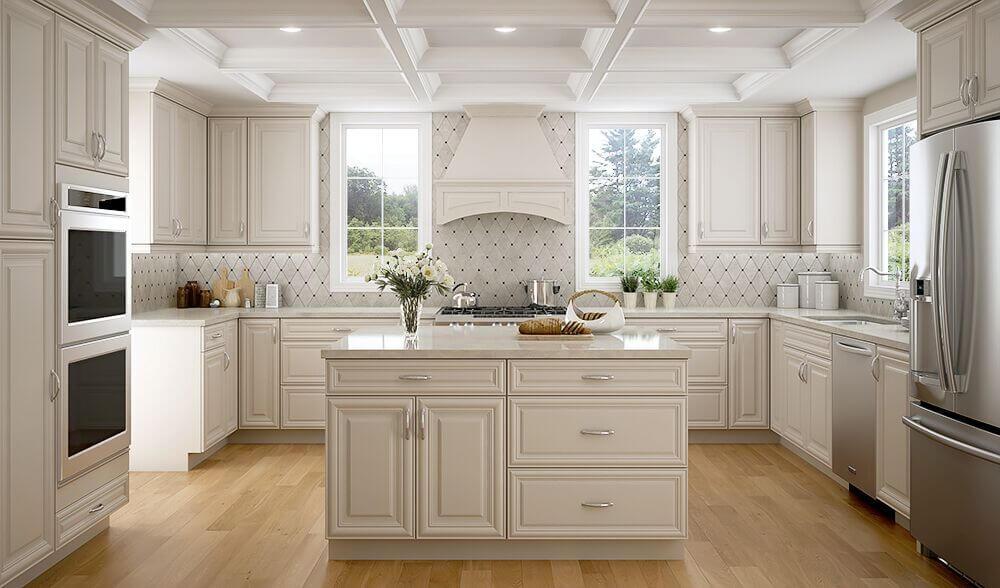 pearl white elegant kitchen custom cabinets