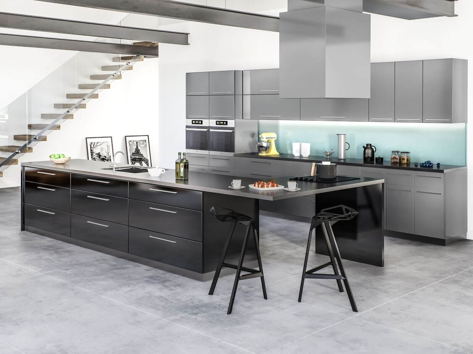 slate modern kitchen black and grey