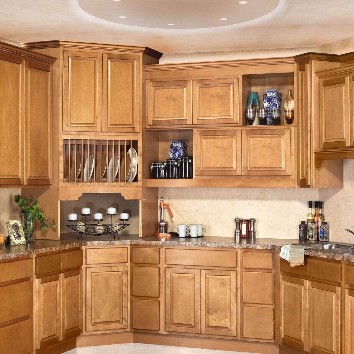 sierra toffee light brown custom kitchen cabinets