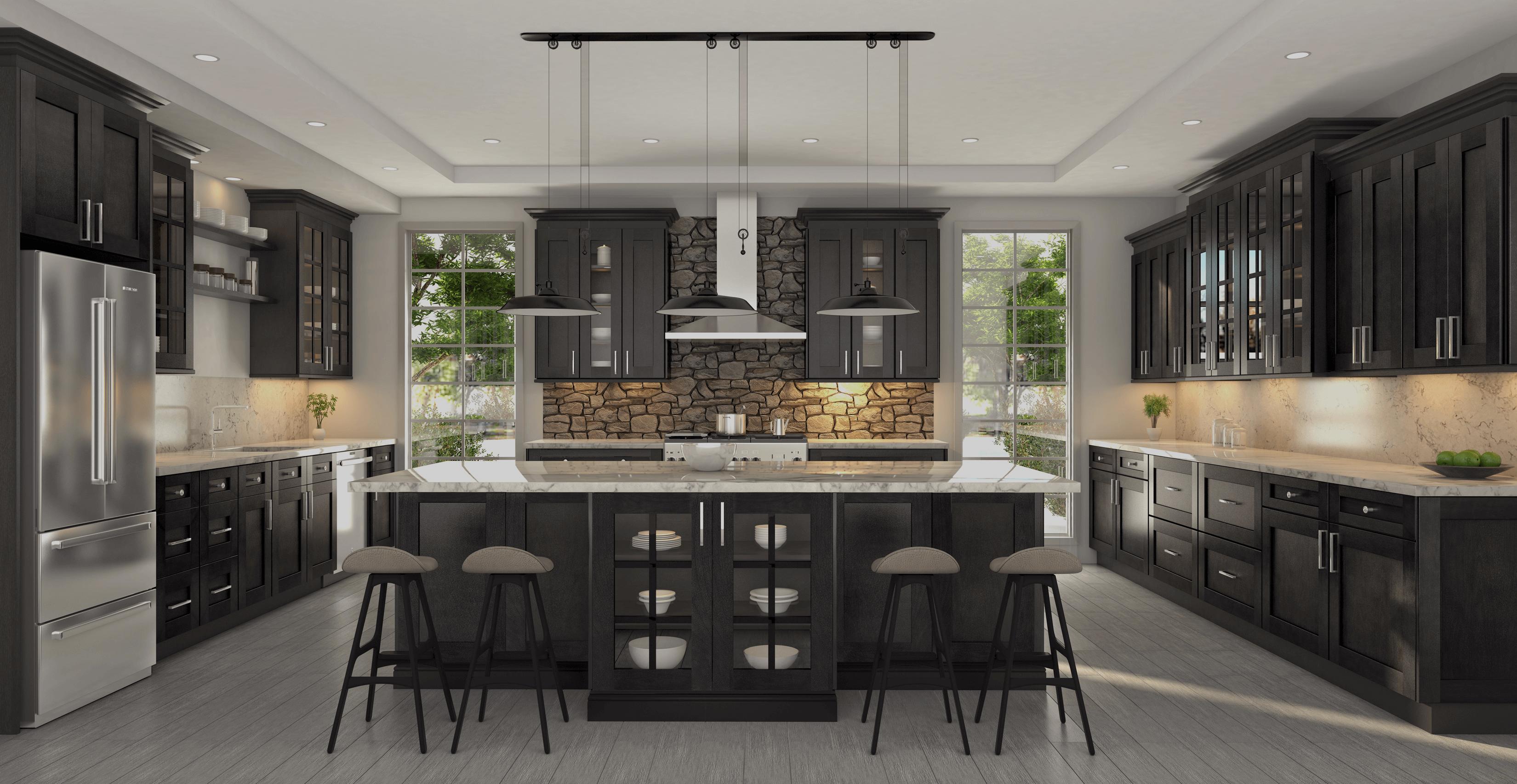 dover shale black classic kitchen cabinets