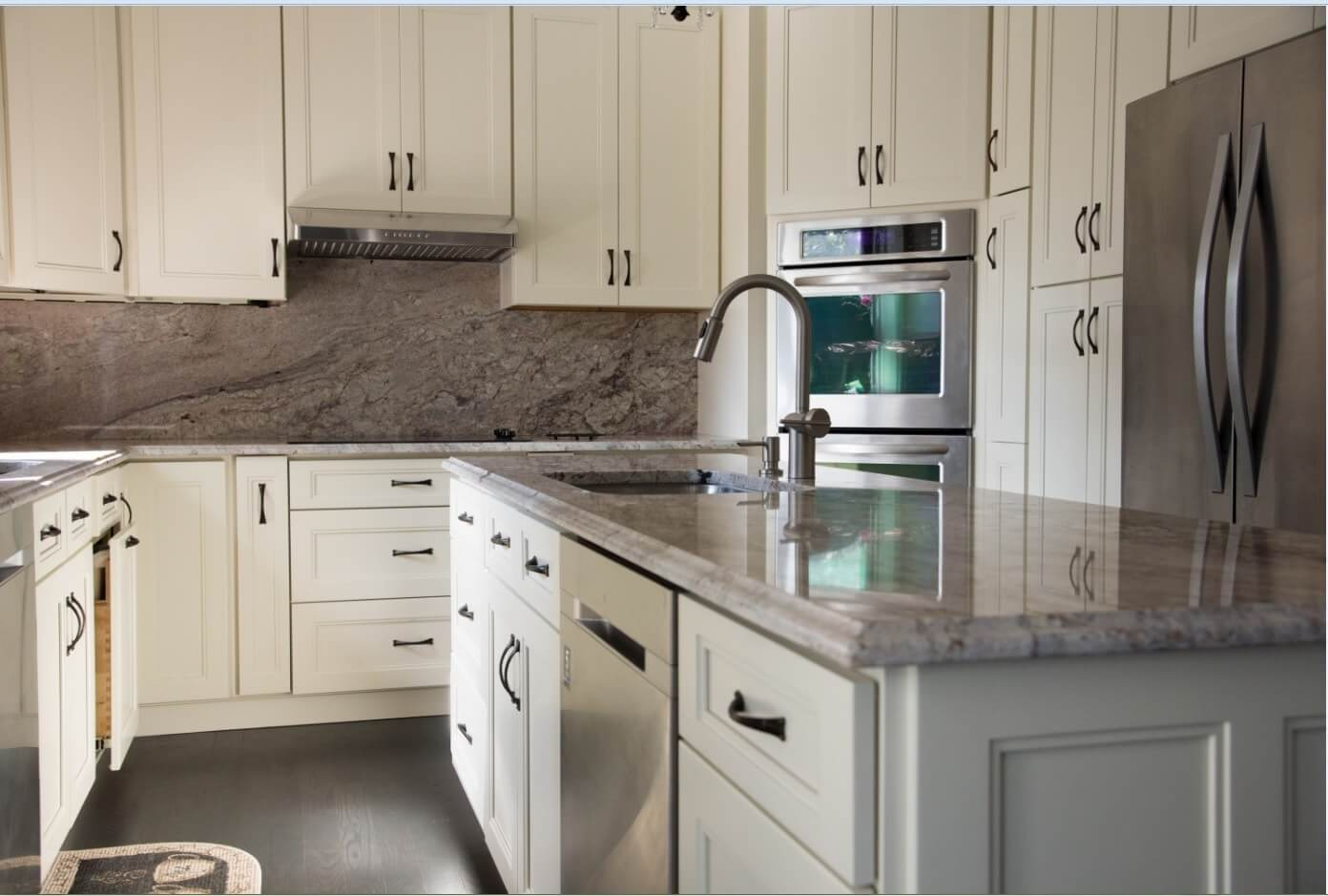 fashion pearl white cabinets with island and marble counter
