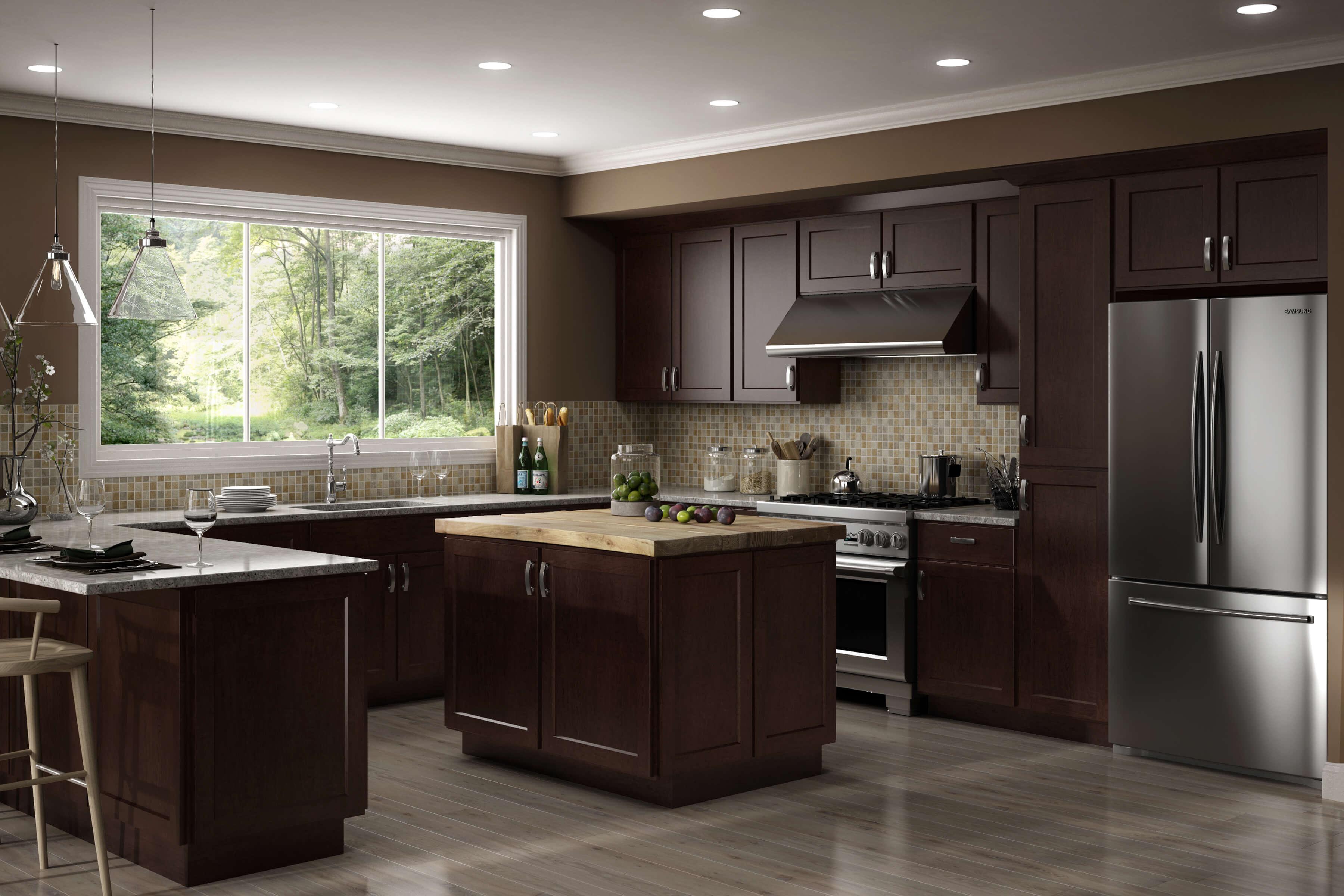 corner brown espresso luxor kitchen
